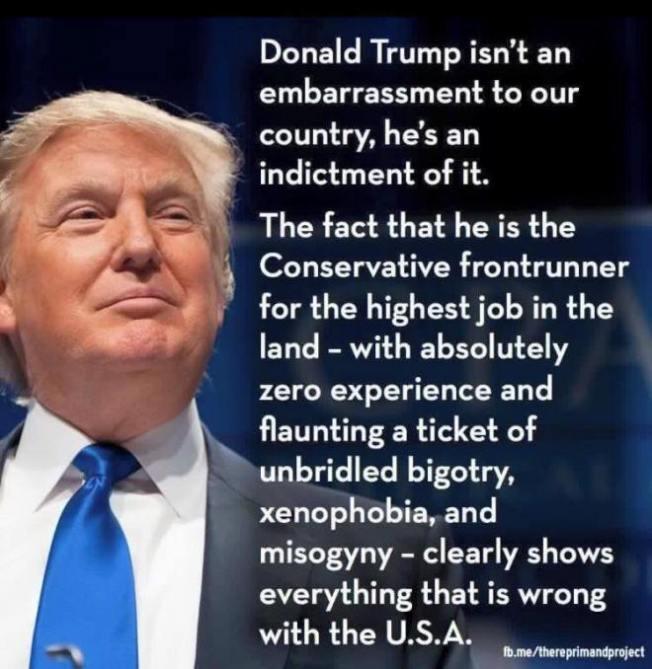 Donald Trump Xenophobia Bigotry Misogyny America