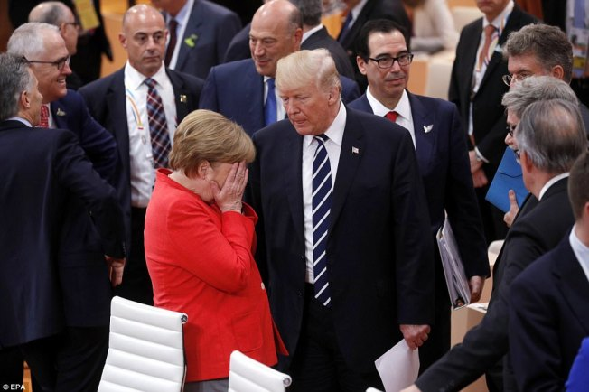 Donald Trump Angela Merkel Frustrated G20